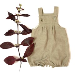 Vintie Overall Romper Coverall Baby Buff Linen Size OOO (up to 3 months)
