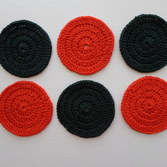 Set of Six Circular Cotton Drink Coasters for Christmas