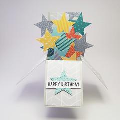 3D Stars Birthday Card, Happy Birthday Card