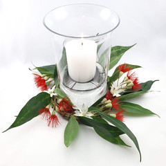 Australian Native Flower Wreath with Hurricane Vase & Candle  Table Decor