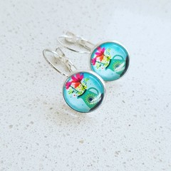 Glass - Lever back Silver Plated  Drop Earrings