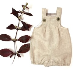 Vintie Overall Romper Coverall Baby Cream Linen Size OOO (up to 3 months) and OO