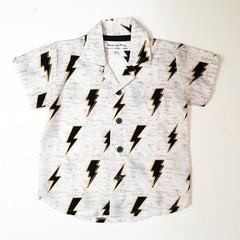 Button up collar boys shirt Lightning summer button down short sleeve size 1,2,3