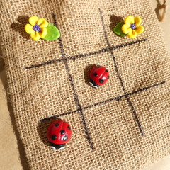 Lady bug and flower clay tic tac toe game