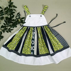 American Dream Toddler Dress Navy and Lime wth white hem frill Size 4