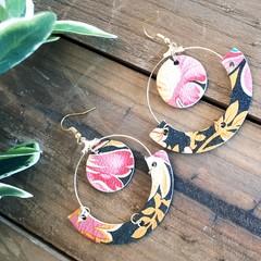 """""""Belinda"""" Hoop Earrings, Gold/ Floral Genuine Leather"""