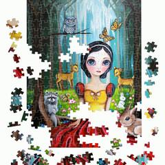 """500/1000 Piece Jigsaw Puzzle """"Snow White"""" Brisbane Artist Jaz Higgins FREE POST"""