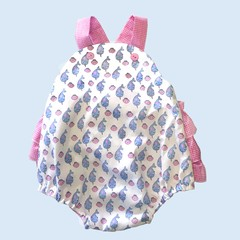 Vintage style pink and blue whale print Ruffle Romper for baby. Size 000 only