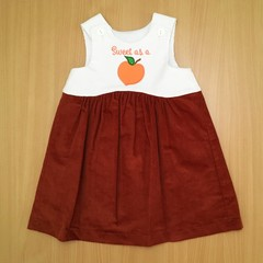 """Girls Toddler pinafore """"Sweet as a Peach"""" Applique tan and white corduroy size3"""