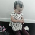 BURGANDY FLOWERS PEPLUM TOP, sz 00  (suit 6 -9 month old)