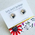 Glass - Silver Plated Studs