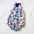 Cute baby romper woodland friends in blue