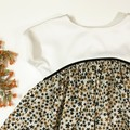 Girl Toddler Dress Casual Izzy Dress Black and Apricot Flowered fabric Size 5