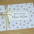Personalised Christmas Card - Gold Snowflakes