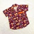 Fox print button up button down shirt boys short sleeve collar shirt size 3