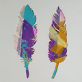 """Blue and Purple Feathers"" original hand painted acrylic silhouette artwork"