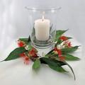 Australian Native Flower Wreath with Hurricane Vase & Candle  Table Decor
