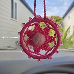 Rear view mirror charm, Crocheted air freshener, car diffuser, essential oil car