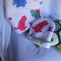 Soft Toy Turtle and Dinosaur Baby Blanket+Beanie