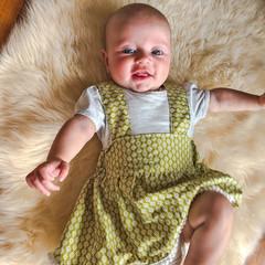GREEN FLORAL SUSPENDER SKIRT, sz newborn