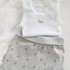 Hand Embroidered Duck Singlet with Grey Polka Dot Short Baby Outfit Gift