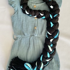 Jasmine Inspired Yarn Wig- Black with Blue Ribbons