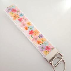 Tropical flower key fob wristlet