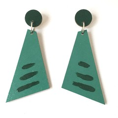 Hand Painted Teal Green Angle Yellow Earrings