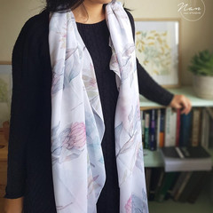 Watercolour Protea pattern scarf