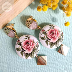 Semi Gold Pink Stud with Big Classic Rose Matte Tensha Beads Earrings