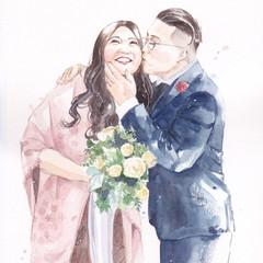 Personalised watercolour wedding portrait, family portrait