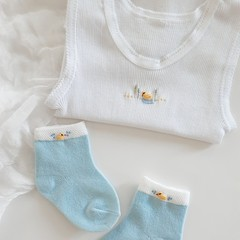 Hand Embroidered Duck Singlet & Sock Set Baby Boy Gift