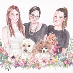 Personalised watercolour family portrait with floral decoration A4