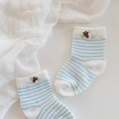 Hand Embroidered Bumble Bee Baby Boy Socks Baby Shower/Newborn Gift