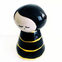 Handmade Ceramic Kokeshi Figurine - Bumblebee Black and Yellow Stripe Dress