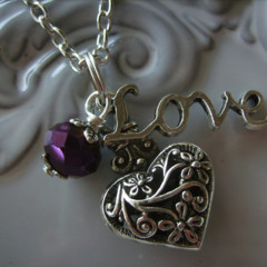 1 x heart necklace with purple crystal bead & love charm other necklaces picture