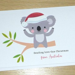 Merry Christmas card - Koala - Sending love from Australia