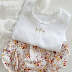 Hand Embroidered Rose Bud Singlet & Ruffle Nappy Cover Set Baby Girl Summer Baby