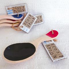 Ceramic Scoop Spoon, Dark Green and Red