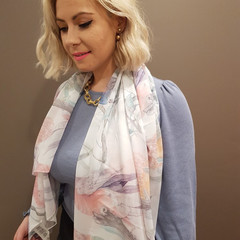Watercolour Australian birds and banksia pattern scarf