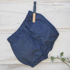 Denim unisex bloomers with back pockets