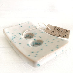 Ceramic Soap Dish with Speckled White and Green Glaze