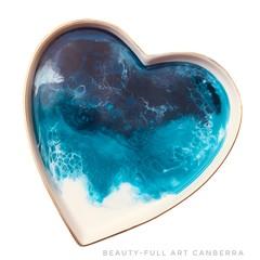 Resin Art Trinket Tray | White Ceramic Ring Dish | Heart Plate