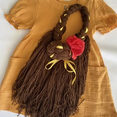 Belle Inspired Yarn Wig- Brown  Hair Out