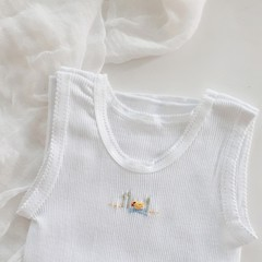 Hand Embroidered Duck Preemie Singlet Baby Boy Gift