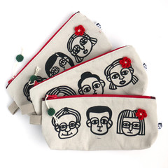 Screen Printed People - Cotton Canvas Zipper Pouch • Pencil Case