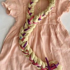 Rapunzel  Inspired Yarn Wig- Blonde with Wooden Flower Buttons