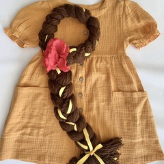 Belle Inspired Yarn Wig- Brown with Yellow Ribbons and Rose