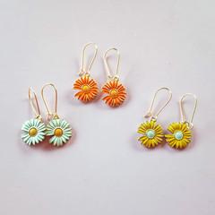 Gold enamel white orange and yellow daisy / sunflower / flower charm earrings