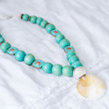 Boho Mother Of Pearl Style Shell Pendant & Green Wooden Round Bead Necklace